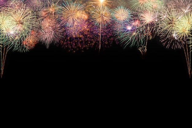Set of colorful fireworks on black background Photo ...