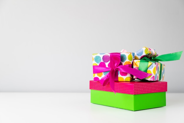 Set of colorful gifts with copy-space Free Photo