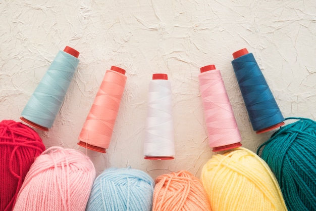 Set of colorful threads and yarn Free Photo
