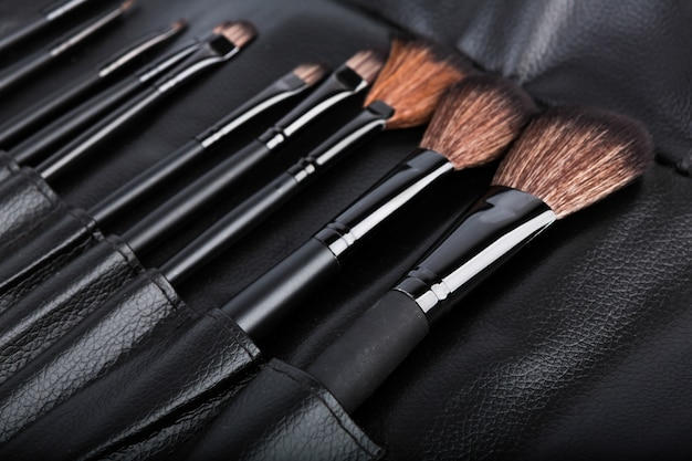 Set of cosmetic paint brush for makeup Free Photo
