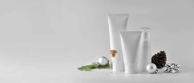Set of cosmetic products on white background. cosmetic package mock up collection. Premium Photo