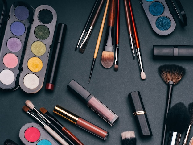 Set of cosmetics for face and eye makeup Premium Photo