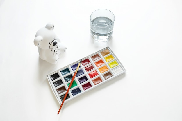 Set for creativity. paint, paint, draw, on white background top view Premium Photo