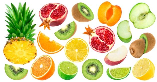 Set of cut fruits isolated on white Premium Photo