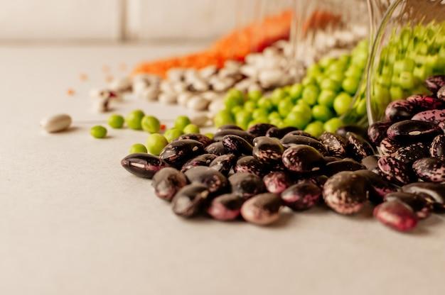 Set of different dried legumes Premium Photo