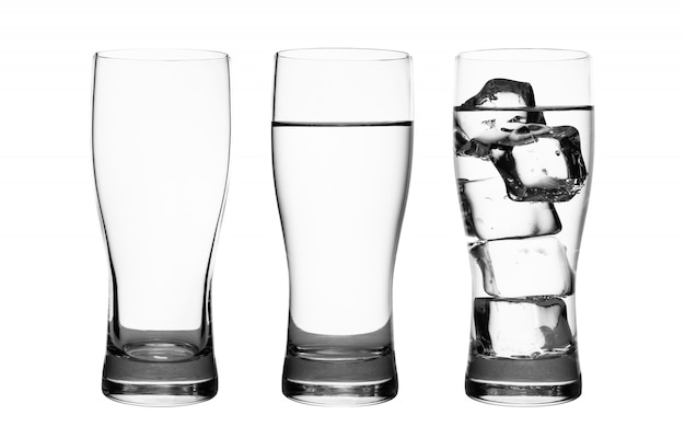 Set of drink glass with water and ice cubes isolated on pure white Premium Photo