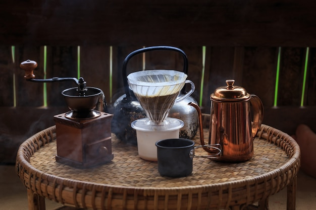 Set of drips coffee,coffee making Premium Photo