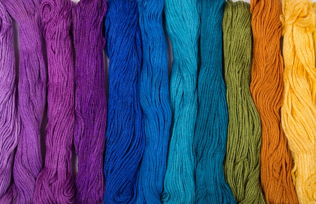 Set of embroidery threads background Premium Photo