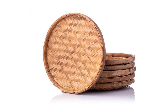 Set of empty bamboo tray  handmade isolated on white Premium Photo