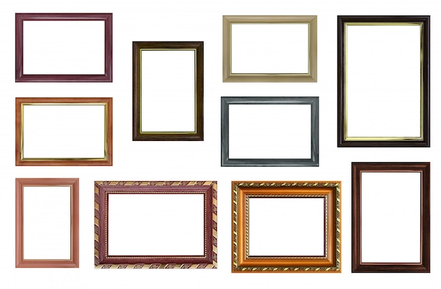 Set of empty picture frames with free space inside, isolated on white Premium Photo