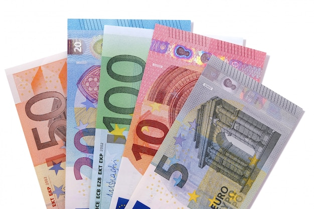 Set of euro currency bills isolated Free Photo