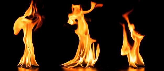 Set of fire flames Free Photo