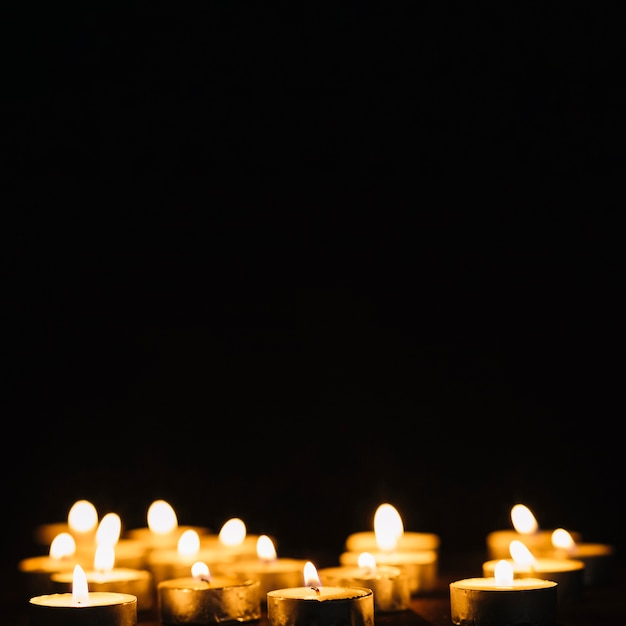Set of flaming candles Free Photo