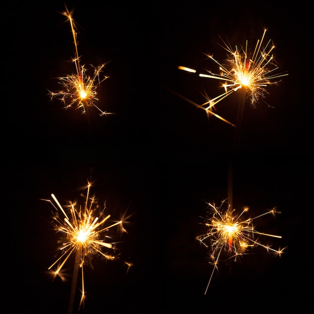 Set of four great sparklers Free Photo