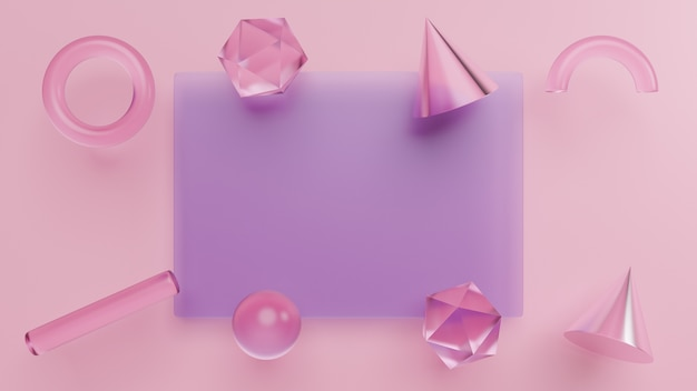 幾何学的形状、リアルなプリミティブの3dレンダリングを設定する Premium写真