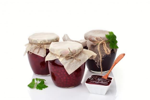 Set of glass jars with homemade jam Premium Photo