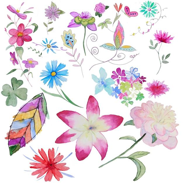Set of handpainted watercolor flowers Premium Photo