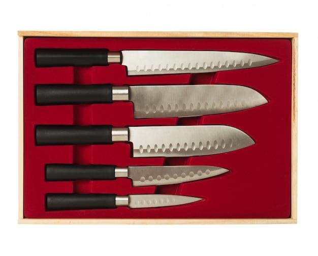 Set of kitchen knives Free Photo