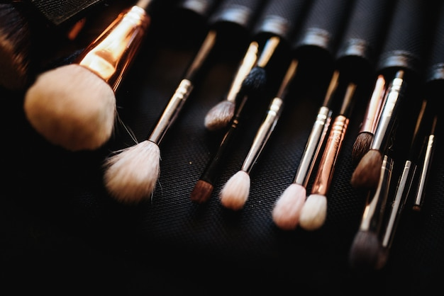 Set of make-up brushes lies on the table Free Photo