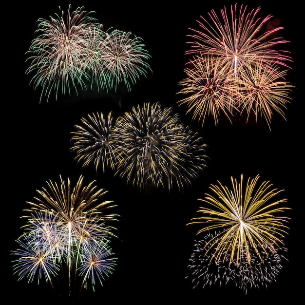 set of fireworks isolated on black background Free Photo