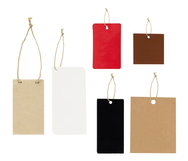 Set of paper tags with simple traditional strings, isolated on white background, highly detailed, clipping part Premium Photo
