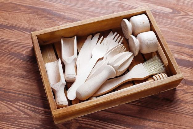 木製キッチン用品、トップビューのセット 無料写真