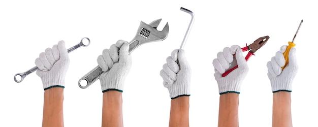 Набор рабочих руки, держащей инструмент строительства, изолированных на белом Premium Фотографии