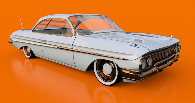 Set old american car in excellent condition. 3d rendering. Premium Photo