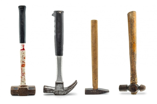 Set of old hammers isolated on a white background Premium Photo
