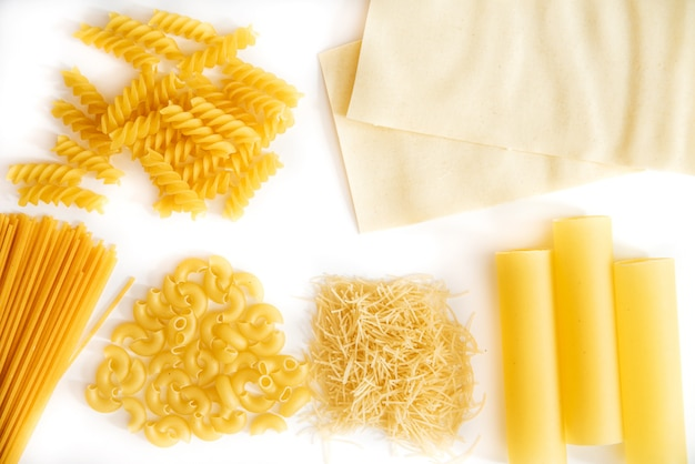 Set of pasta on a white background Premium Photo