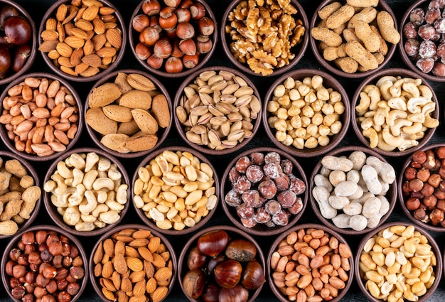 Set of pecan, pistachios, almond, peanut, cashew, pine nuts and lined up assorted nuts and dried fruits in a mini different bowls Free Photo