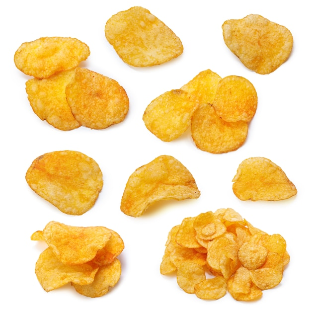 Set of potato chips close-up on an isolated white Premium Photo