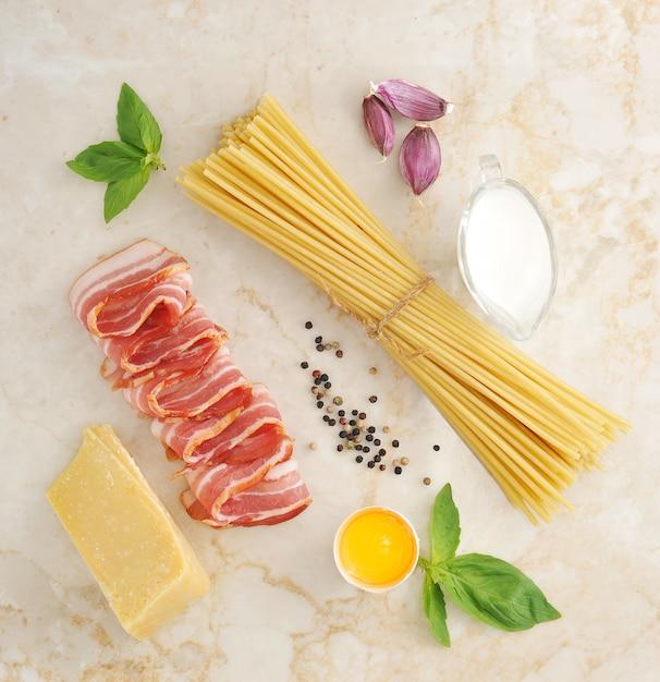 Set of products for pasta carbonara Premium Photo