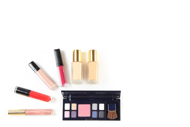 Set of professional cosmetic products on white Premium Photo
