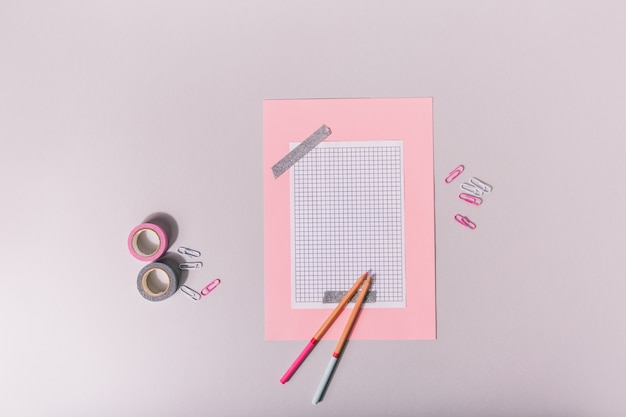 Set for scrapbooking in pink and tones glued with silver tape Free Photo