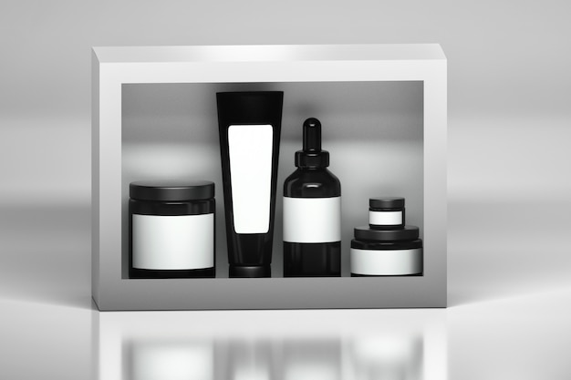 Set of skin care products packages. black plastic shiny cosmetics containers Premium Photo