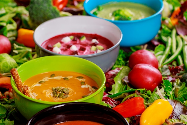 Set of soups from worldwide cuisines, healthy food. Premium Photo