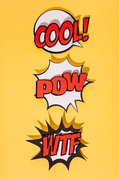 Set of speech bubble with sound effect expression on yellow background Free Photo
