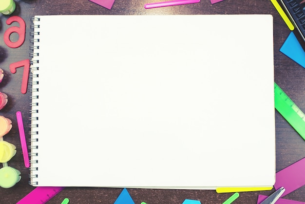 Set  stationery for school notebook lying  table top view copy  space concept back to school Premium Photo