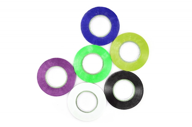 Set of sticky colorful electrical protection tape. Premium Photo