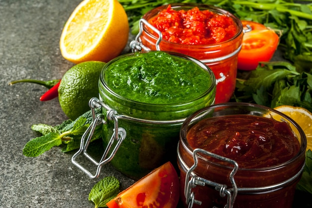 Set of three indian chutney Premium Photo