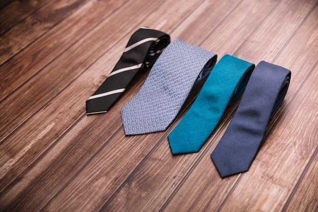Set of ties on table Premium Photo