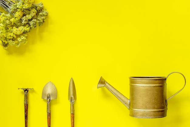 Set of tools to care for flowers on a yellow background. flowers. flat lay. Premium Photo