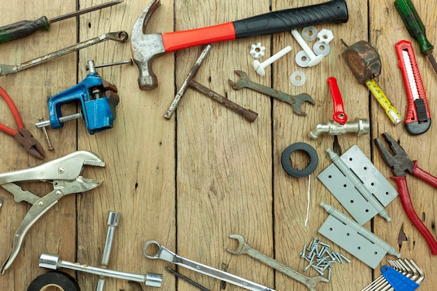 Set of tools on wooden background concept father day and labor day background copy space for your text Premium Photo