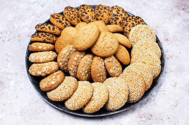 decorated shortbread cookies.htm set of various american style cookies on a light concrete  cookies on a light concrete