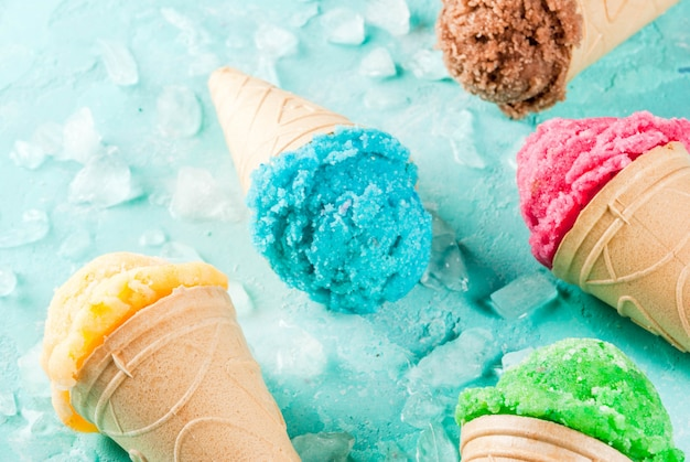 Set of various bright colorful  ice-cream Premium Photo