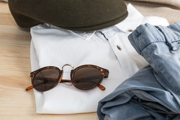 Set of various clothes and accessories for men Premium Photo