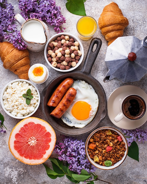 Set of various healthy breakfast Premium Photo