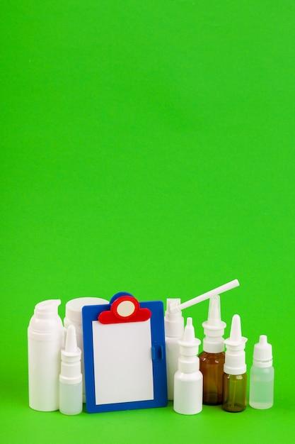 Set of various medical bottles Premium Photo