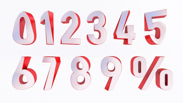 Set of volumetric 3d numbers and percent sign. 3d rendering Premium Photo